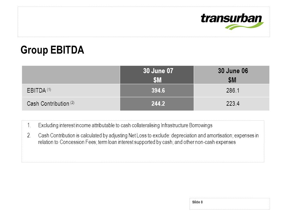 Group EBITDA 1.Excluding interest income attributable to cash collateralising Infrastructure Borrowings 2.Cash Contribution is calculated by adjusting