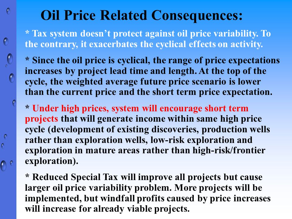 Oil Price Related Consequences: * Tax system doesn't protect against oil price variability. To the contrary, it exacerbates the cyclical effects on ac