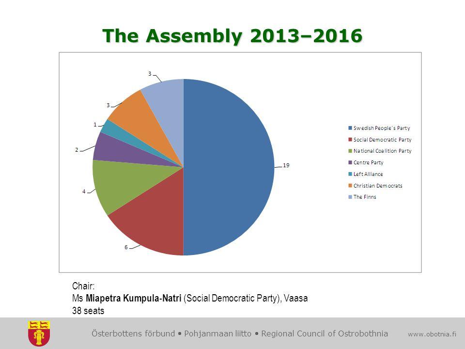 Österbottens förbund  Pohjanmaan liitto  Regional Council of Ostrobothnia www.obotnia.fi Chair: Ms Miapetra Kumpula-Natri (Social Democratic Party), Vaasa 38 seats The Assembly 2013–2016