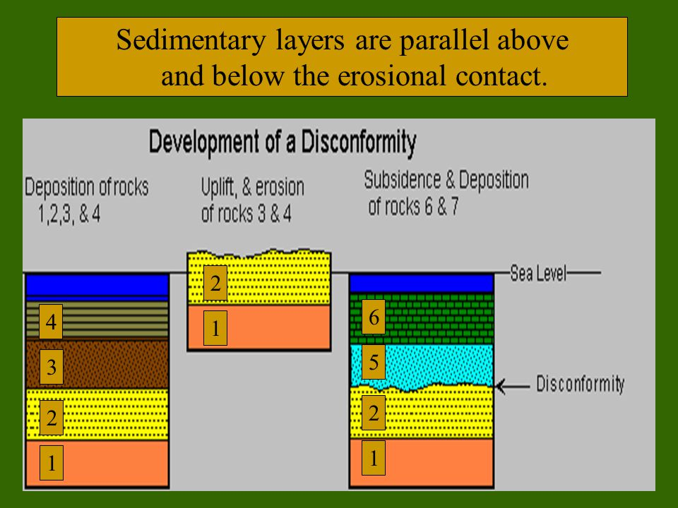 Sedimentary layers are parallel above and below the erosional contact. 1 2 4 3 1 2 1 2 5 6