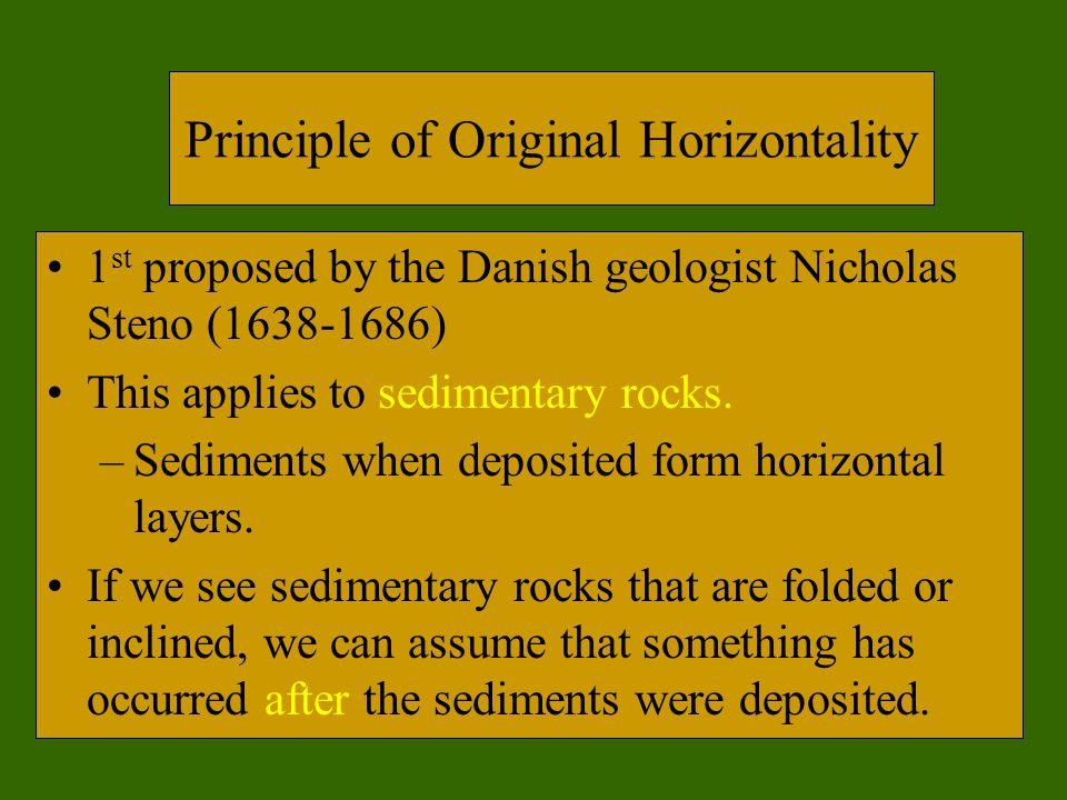 Principle of Original Horizontality 1 st proposed by the Danish geologist Nicholas Steno (1638-1686) This applies to sedimentary rocks. –Sediments whe