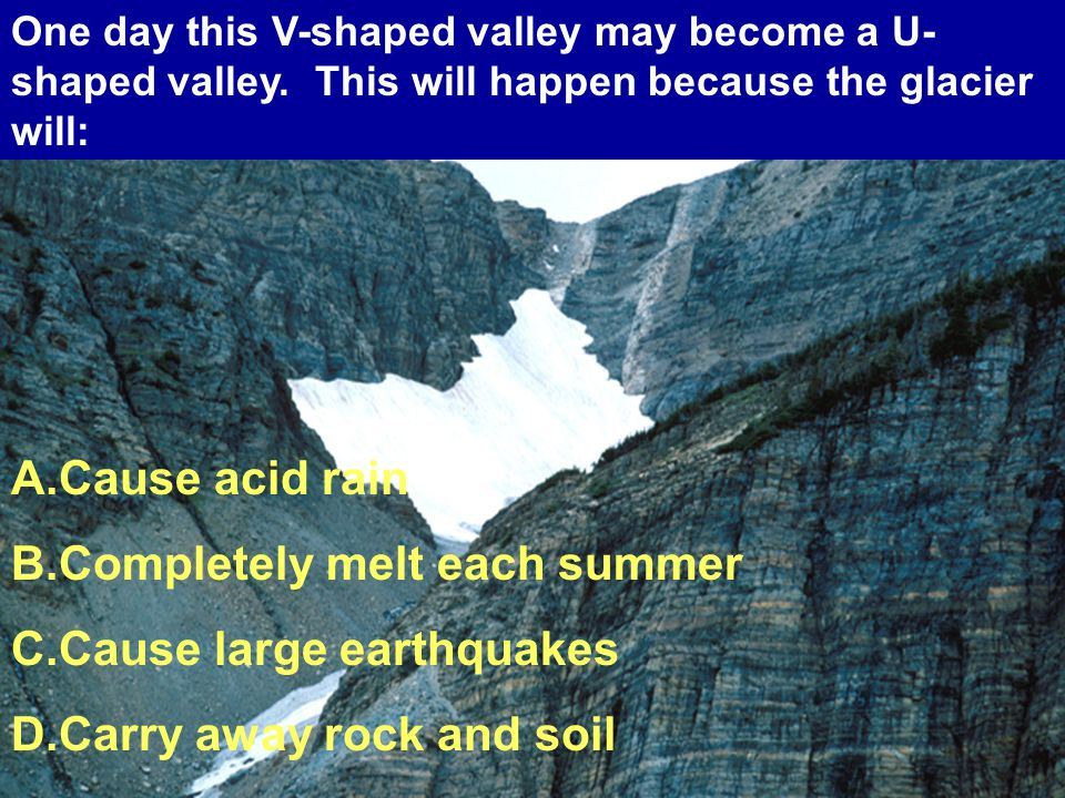 A.Cause acid rain B.Completely melt each summer C.Cause large earthquakes D.Carry away rock and soil One day this V-shaped valley may become a U- shaped valley.