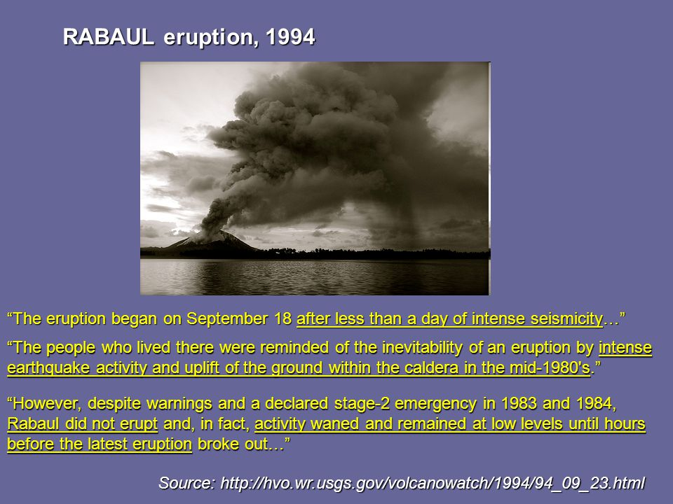 RABAUL eruption, 1994 The eruption began on September 18 after less than a day of intense seismicity… The people who lived there were reminded of the inevitability of an eruption by intense earthquake activity and uplift of the ground within the caldera in the mid-1980 s. However, despite warnings and a declared stage-2 emergency in 1983 and 1984, Rabaul did not erupt and, in fact, activity waned and remained at low levels until hours before the latest eruption broke out… Source: http://hvo.wr.usgs.gov/volcanowatch/1994/94_09_23.html