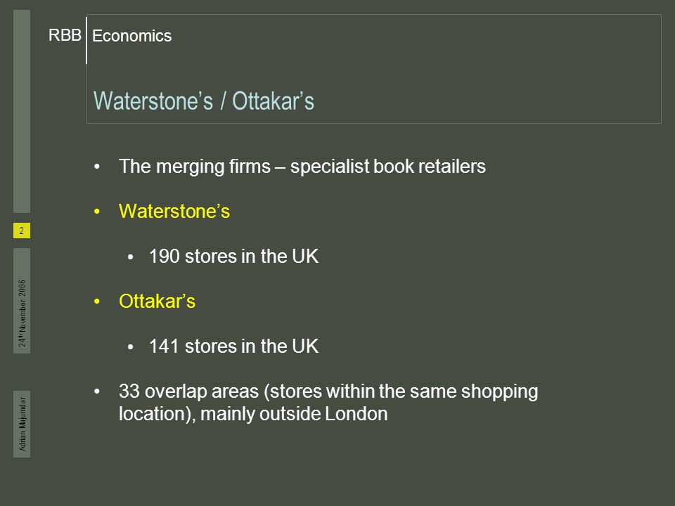 Adrian Majumdar Economics RBB 3 24 th November 2006 National shares for book retailers (2005) % Waterstone's17 Ottakar's7 Total24 Other specialist bookshops15 Other stores (inc.