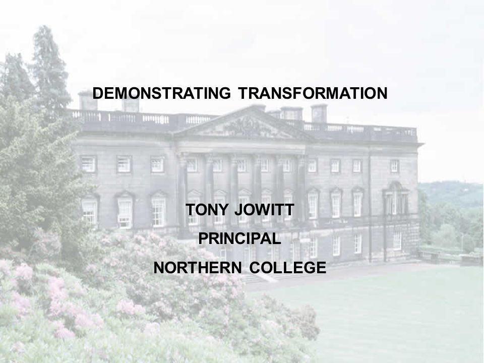 1.The College and its context 2.College project – Literacy through IT 3.Implications of project for transforming learning in the wider college 4.Implications for Inspection