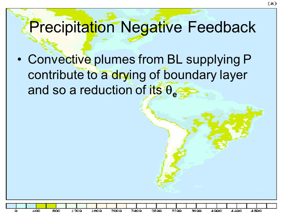 Precipitation Negative Feedback Convective plumes from BL supplying P contribute to a drying of boundary layer and so a reduction of its  e