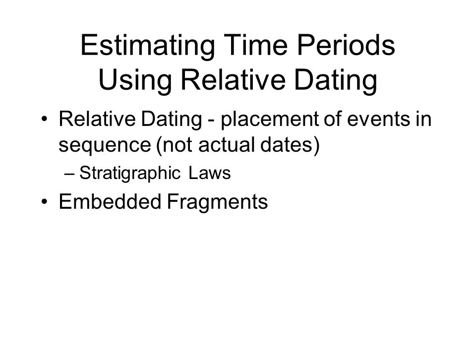 Estimating Time Periods Using Relative Dating Relative Dating - placement of events in sequence (not actual dates) –Stratigraphic Laws Embedded Fragme