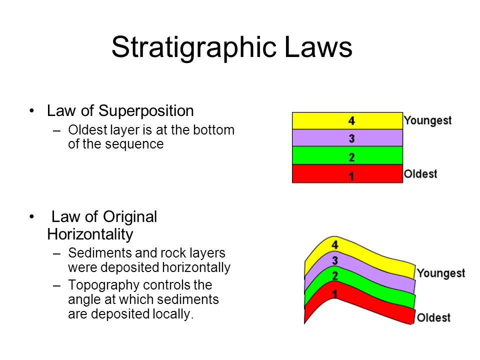 Stratigraphic Laws Law of Superposition –Oldest layer is at the bottom of the sequence Law of Original Horizontality –Sediments and rock layers were d