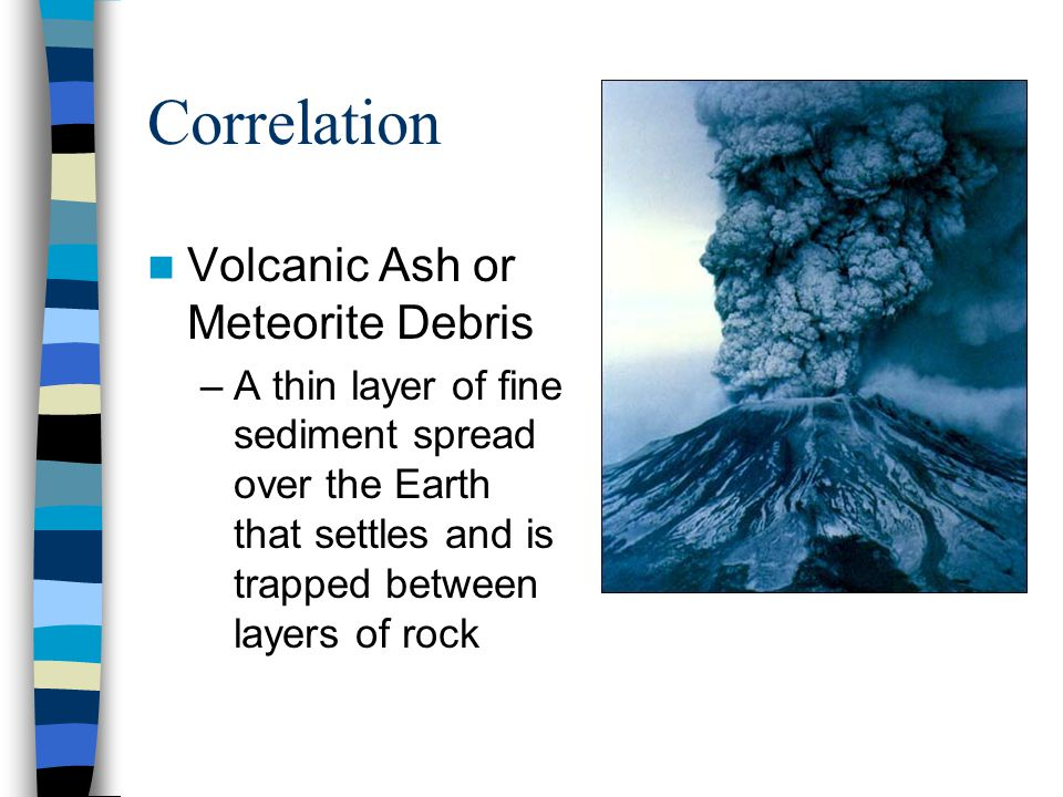Correlation Volcanic Ash or Meteorite Debris –A thin layer of fine sediment spread over the Earth that settles and is trapped between layers of rock