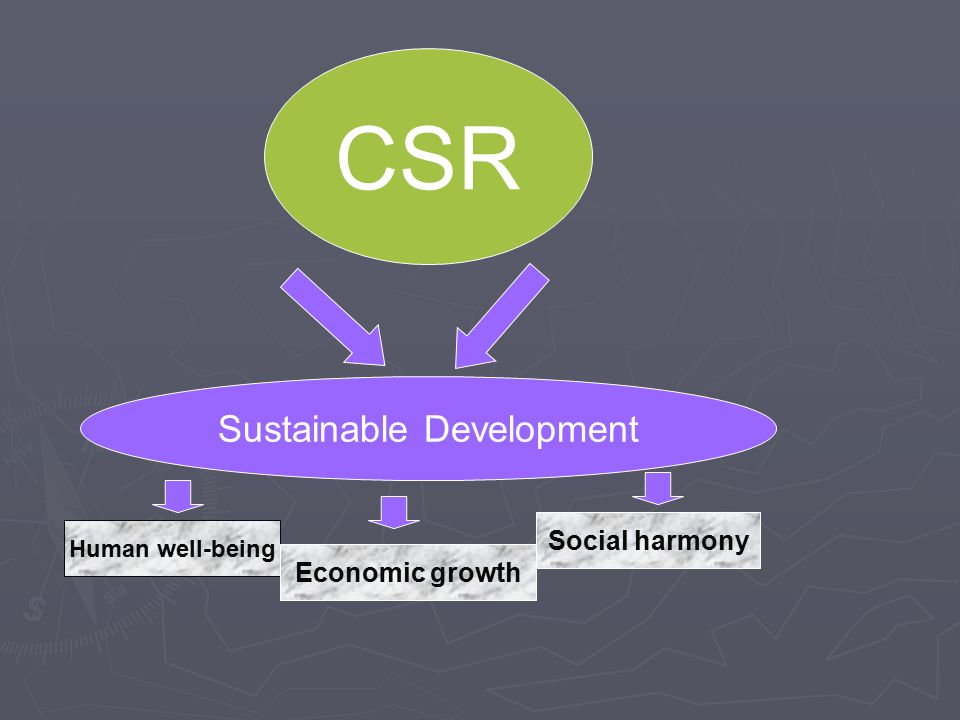 CSR Sustainable Development Human well-being Economic growth Social harmony