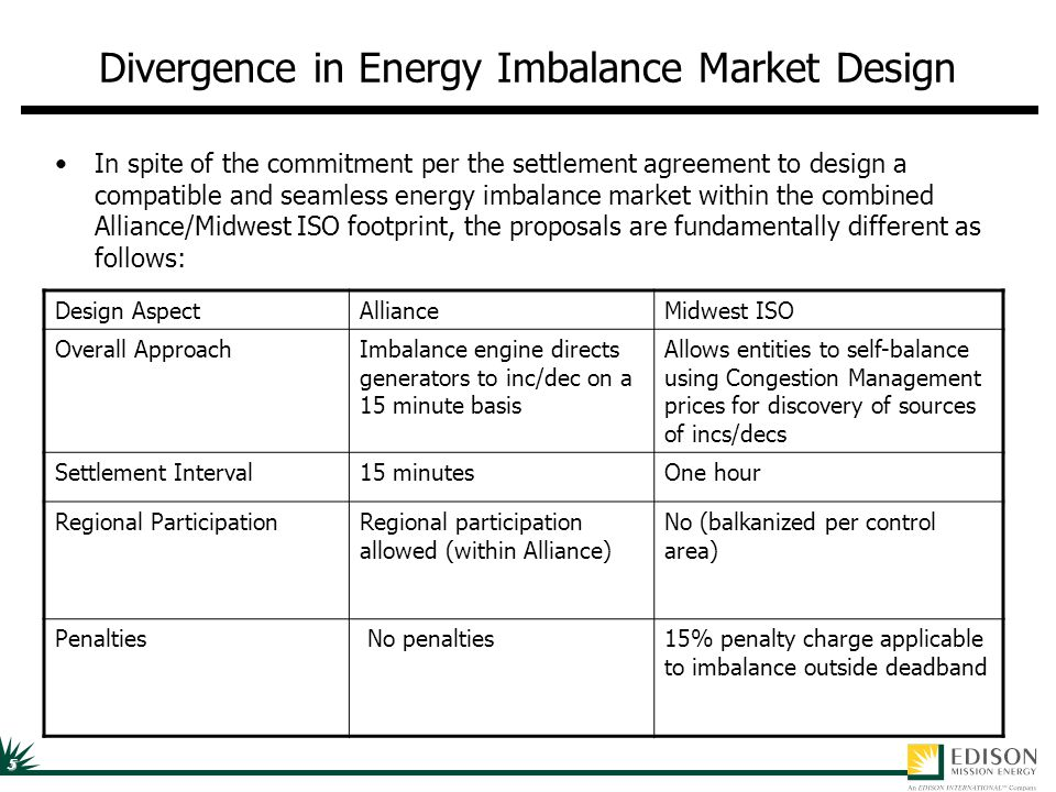 5 Divergence in Energy Imbalance Market Design In spite of the commitment per the settlement agreement to design a compatible and seamless energy imba