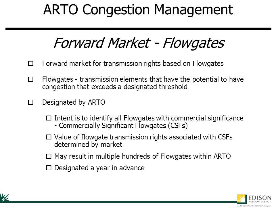 9 ARTO Congestion Management Forward Market - Flowgates oForward market for transmission rights based on Flowgates oFlowgates - transmission elements