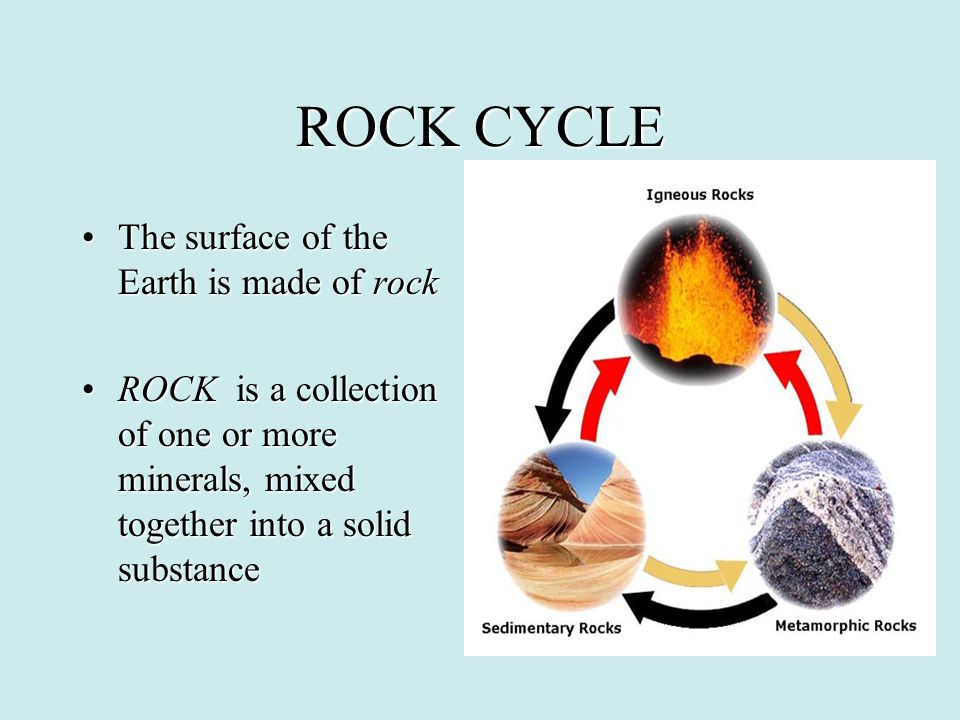 ROCK CYCLE The surface of the Earth is made of rockThe surface of the Earth is made of rock ROCK is a collection of one or more minerals, mixed togeth