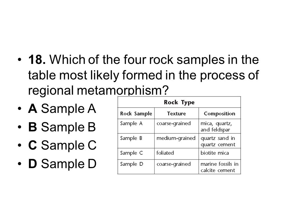 18. Which of the four rock samples in the table most likely formed in the process of regional metamorphism? A Sample A B Sample B C Sample C D Sample