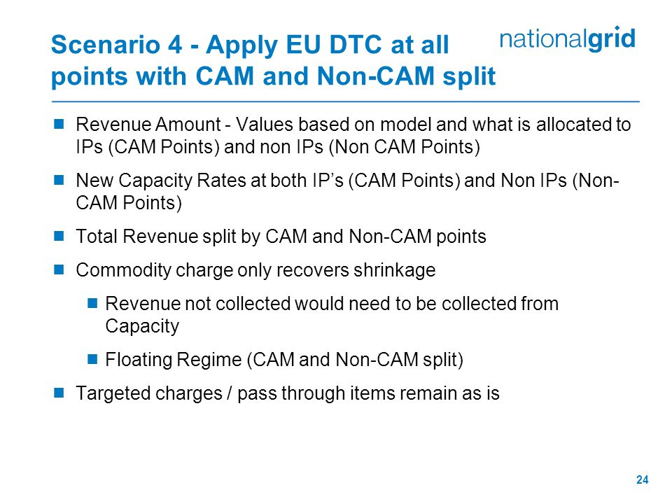 24 Scenario 4 - Apply EU DTC at all points with CAM and Non-CAM split  Revenue Amount - Values based on model and what is allocated to IPs (CAM Point