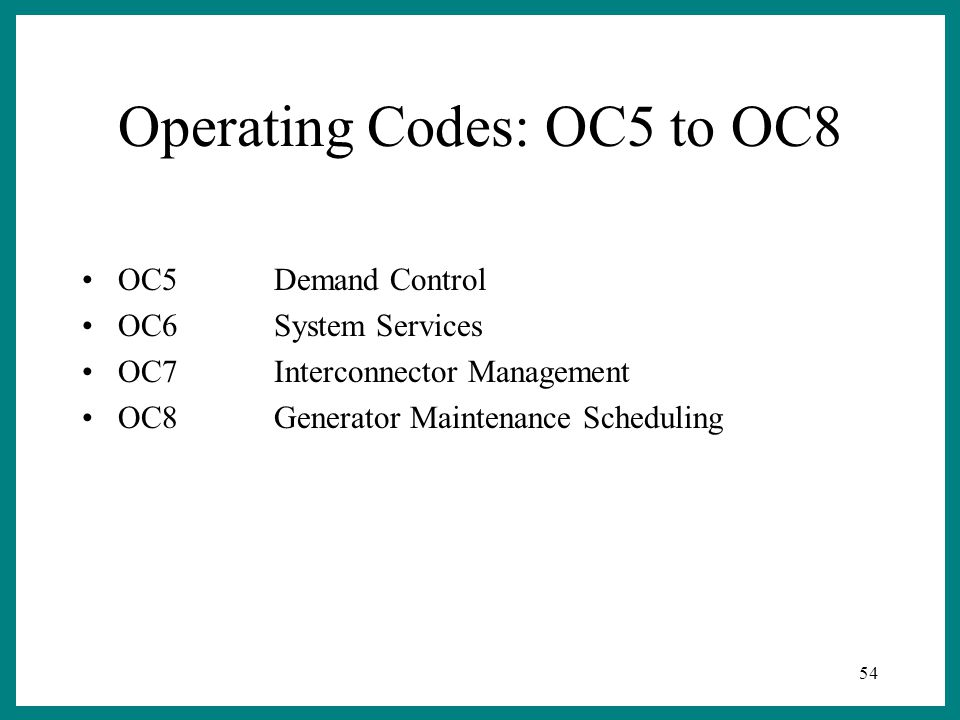 54 Operating Codes: OC5 to OC8 OC5Demand Control OC6System Services OC7Interconnector Management OC8Generator Maintenance Scheduling
