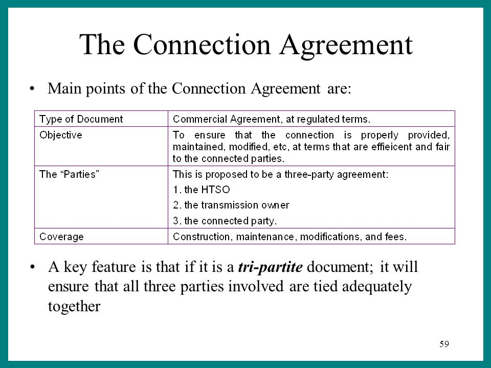59 The Connection Agreement A key feature is that if it is a tri-partite document; it will ensure that all three parties involved are tied adequately together Main points of the Connection Agreement are:
