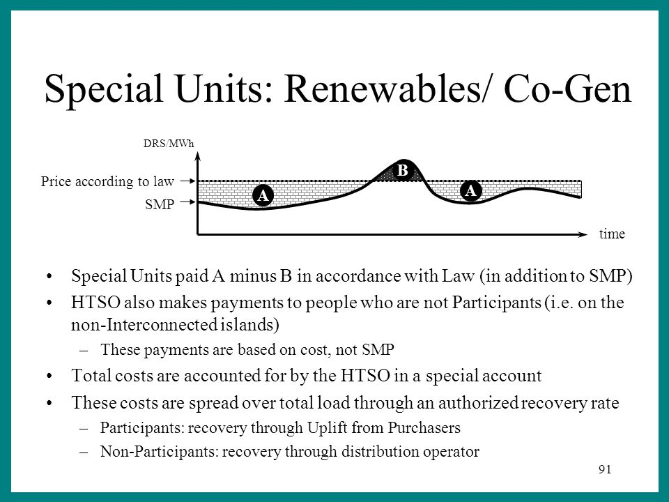 91 Special Units: Renewables/ Co-Gen Special Units paid A minus B in accordance with Law (in addition to SMP) HTSO also makes payments to people who are not Participants (i.e.