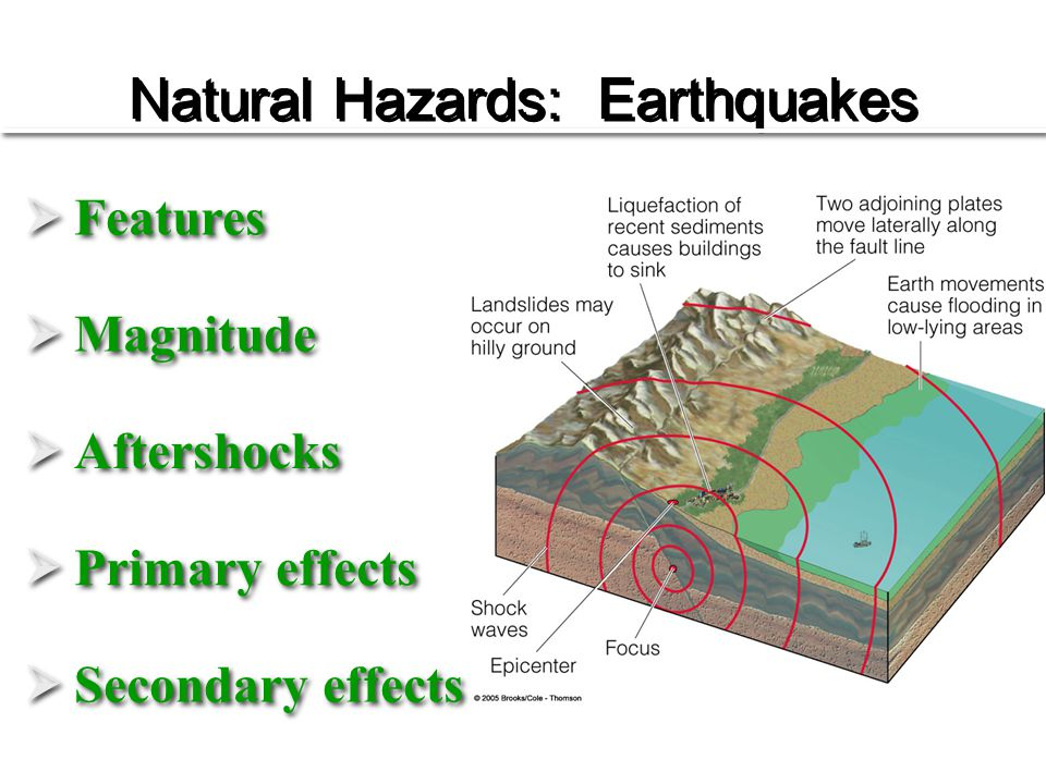 Natural Hazards: Earthquakes  Features  Magnitude  Aftershocks  Primary effects  Secondary effects