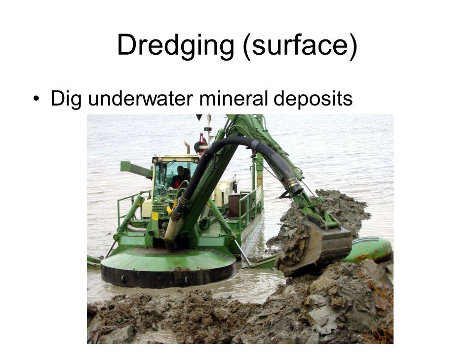 Dredging (surface) Dig underwater mineral deposits