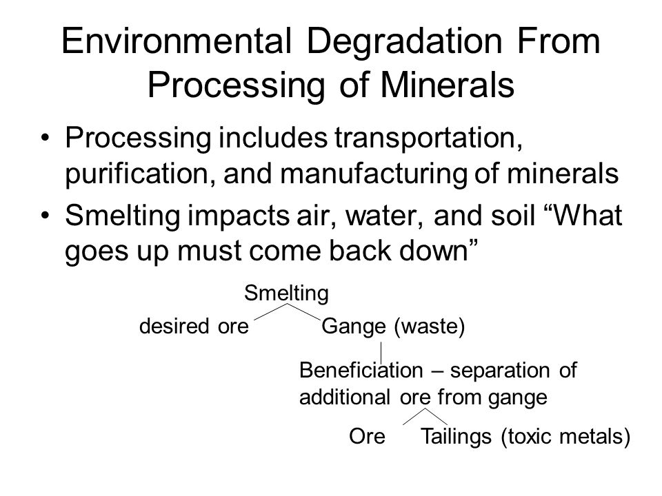 Environmental Degradation From Processing of Minerals Processing includes transportation, purification, and manufacturing of minerals Smelting impacts air, water, and soil What goes up must come back down Smelting desired oreGange (waste) Beneficiation – separation of additional ore from gange OreTailings (toxic metals)