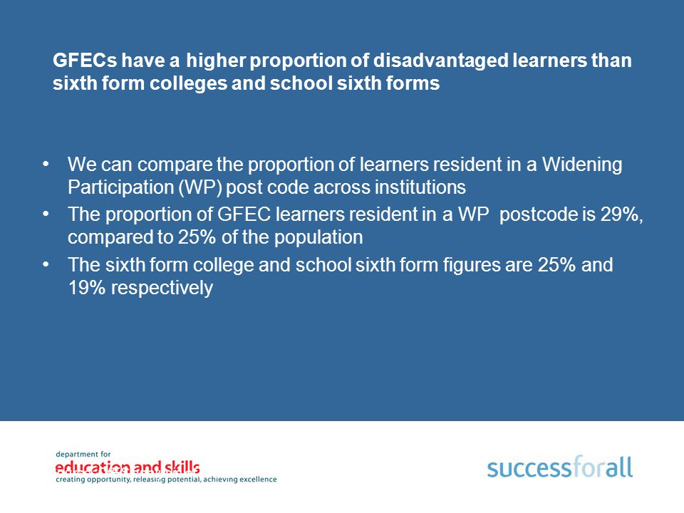 GFECs have a higher proportion of disadvantaged learners than sixth form colleges and school sixth forms We can compare the proportion of learners res
