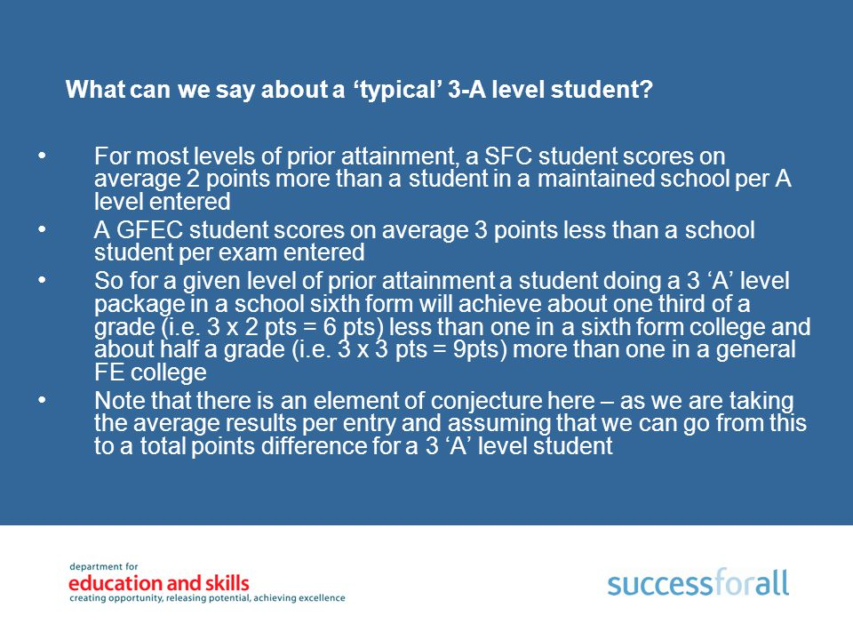 What can we say about a 'typical' 3-A level student? For most levels of prior attainment, a SFC student scores on average 2 points more than a student