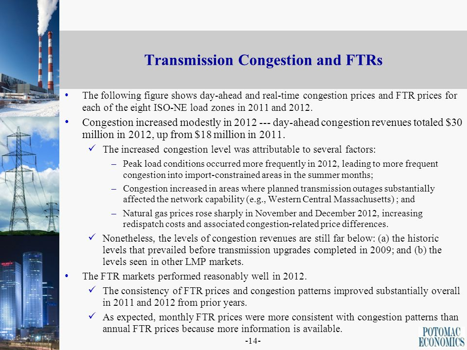-14- Transmission Congestion and FTRs The following figure shows day-ahead and real-time congestion prices and FTR prices for each of the eight ISO-NE load zones in 2011 and 2012.