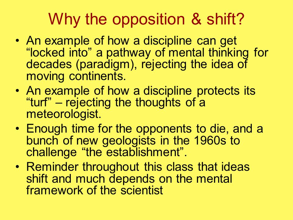 Why the opposition & shift.