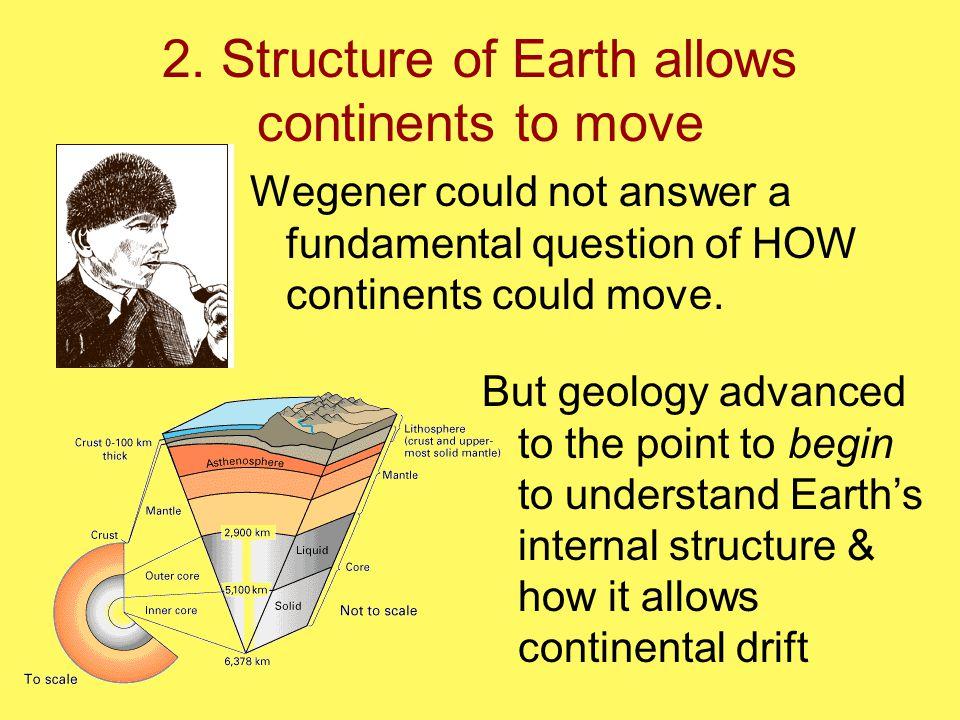 2. Structure of Earth allows continents to move Wegener could not answer a fundamental question of HOW continents could move. But geology advanced to