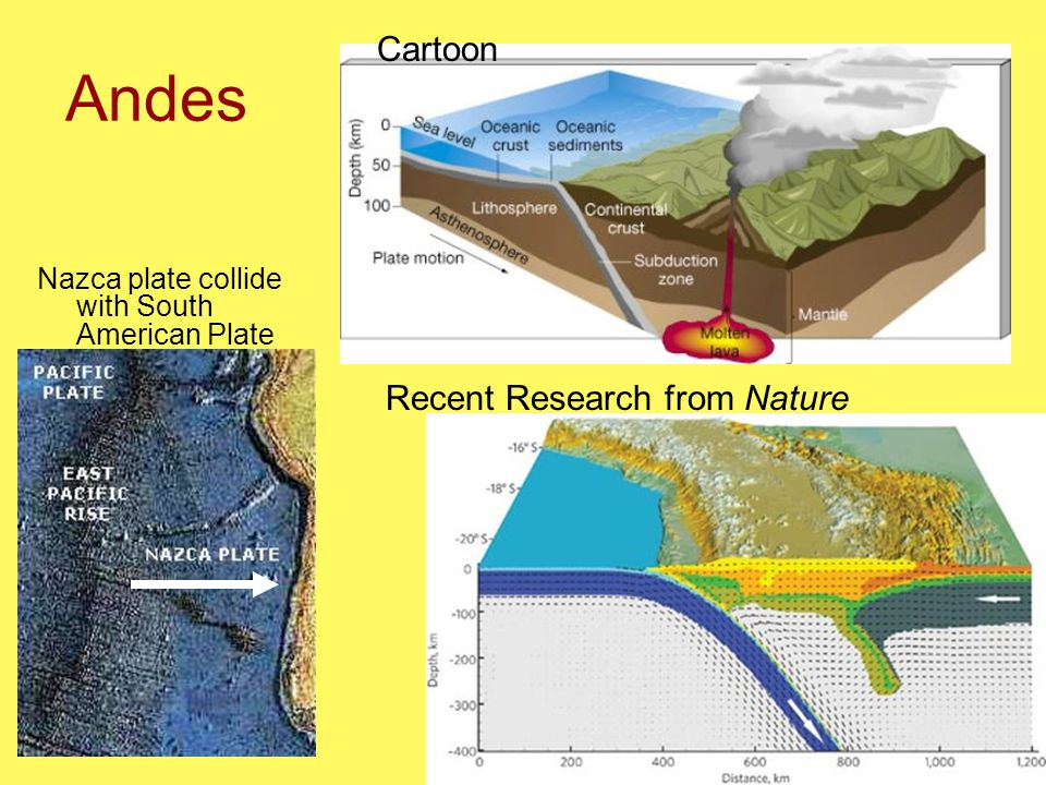 Andes Nazca plate collide with South American Plate Cartoon Recent Research from Nature