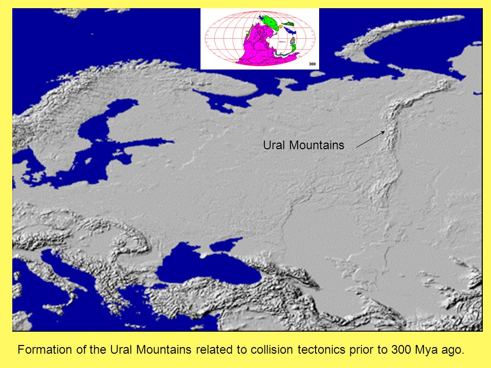 Ural Mountains Formation of the Ural Mountains related to collision tectonics prior to 300 Mya ago.