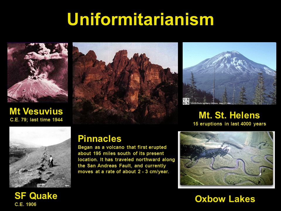 Uniformitarianism Mt Vesuvius C.E. 79; last time 1944 Mt.
