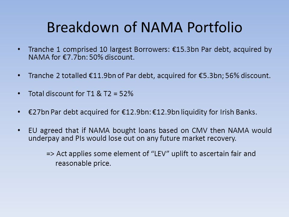 Breakdown of NAMA Portfolio Tranche 1 comprised 10 largest Borrowers: €15.3bn Par debt, acquired by NAMA for €7.7bn: 50% discount.