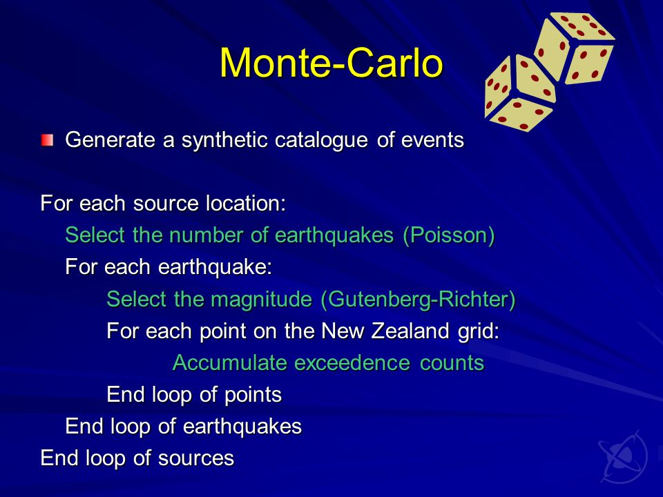 Monte-Carlo Generate a synthetic catalogue of events For each source location: Select the number of earthquakes (Poisson) For each earthquake: Select the magnitude (Gutenberg-Richter) For each point on the New Zealand grid: Accumulate exceedence counts End loop of points End loop of earthquakes End loop of sources