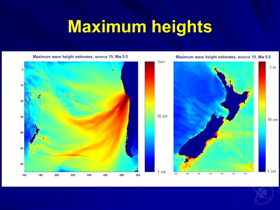 Maximum heights 10 cm 1m+ 1 cm Maximum wave height estimates, source 19, Mw 8.8 1 m 10 cm 1 cm Maximum wave height estimates, source 19, Mw 8.8