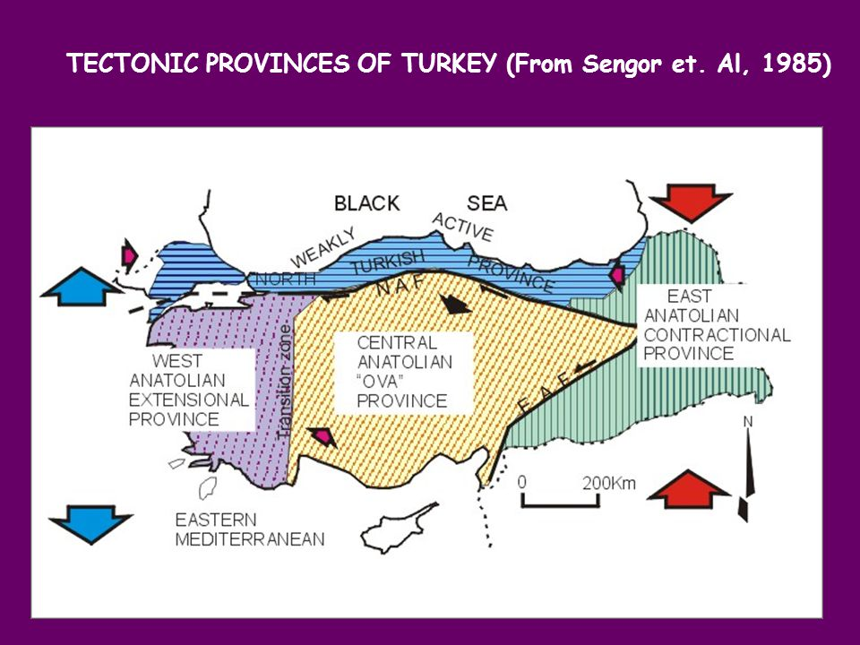 TECTONIC PROVINCES OF TURKEY (From Sengor et. Al, 1985)