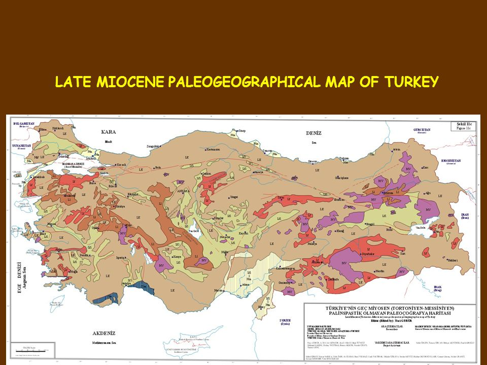 LATE MIOCENE PALEOGEOGRAPHICAL MAP OF TURKEY
