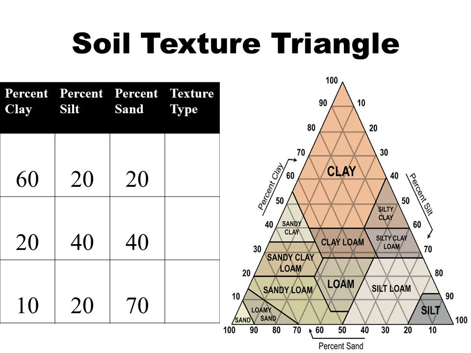 Soil Texture Triangle Percent Clay Percent Silt Percent Sand Texture Type 6020 40 102070
