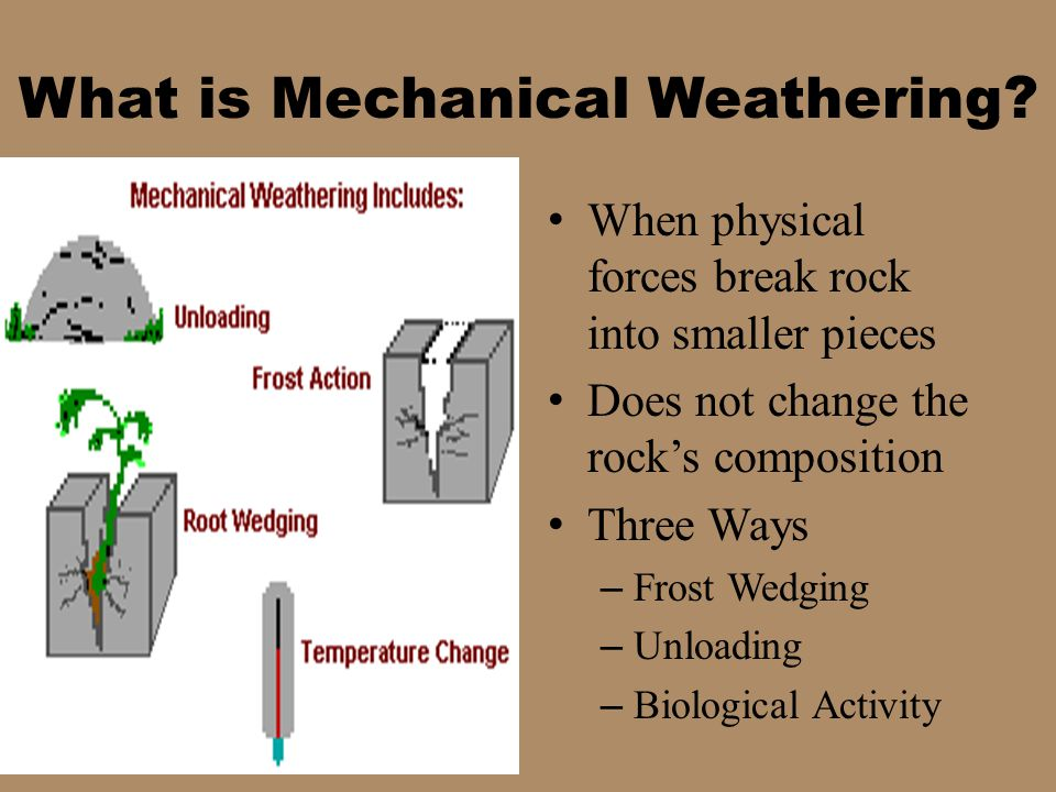 Rock Characteristics – Mineral composition – Mineral solubility Climate – Temperature and moisture – Favors high temperatures and abundant moisture