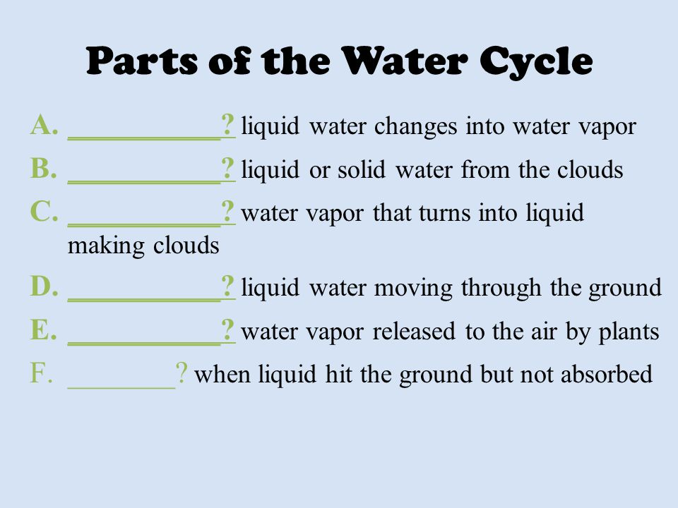 Parts of the Water Cycle A.__________? liquid water changes into water vapor B.__________? liquid or solid water from the clouds C.__________? water v