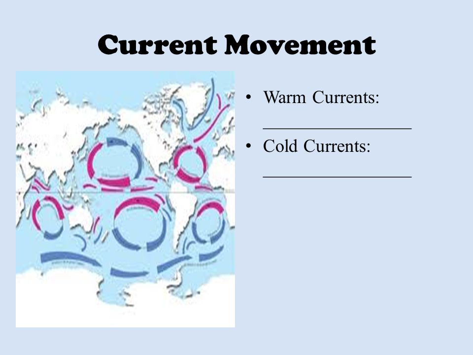 Current Movement Warm Currents: ________________ Cold Currents: ________________