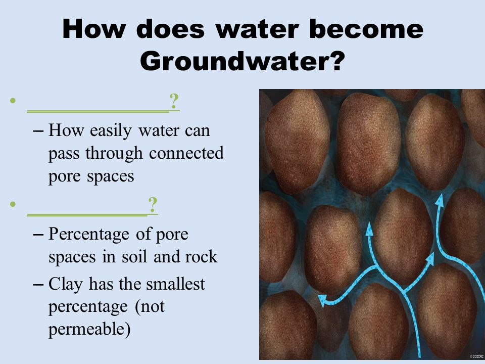 How does water become Groundwater? _____________? – How easily water can pass through connected pore spaces ___________? – Percentage of pore spaces i