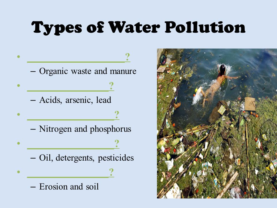 Types of Water Pollution __________________? – Organic waste and manure _______________? – Acids, arsenic, lead ________________? – Nitrogen and phosp