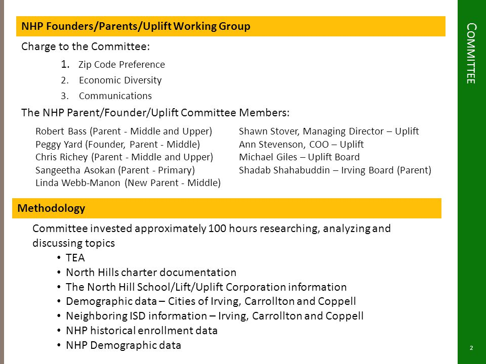 C OMMITTEE NHP Founders/Parents/Uplift Working Group Charge to the Committee: 1. Zip Code Preference 2.Economic Diversity 3.Communications The NHP Par