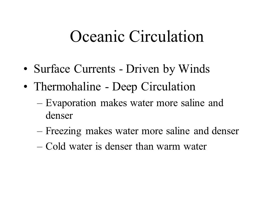 Oceanic Circulation Surface Currents - Driven by Winds Thermohaline - Deep Circulation –Evaporation makes water more saline and denser –Freezing makes water more saline and denser –Cold water is denser than warm water