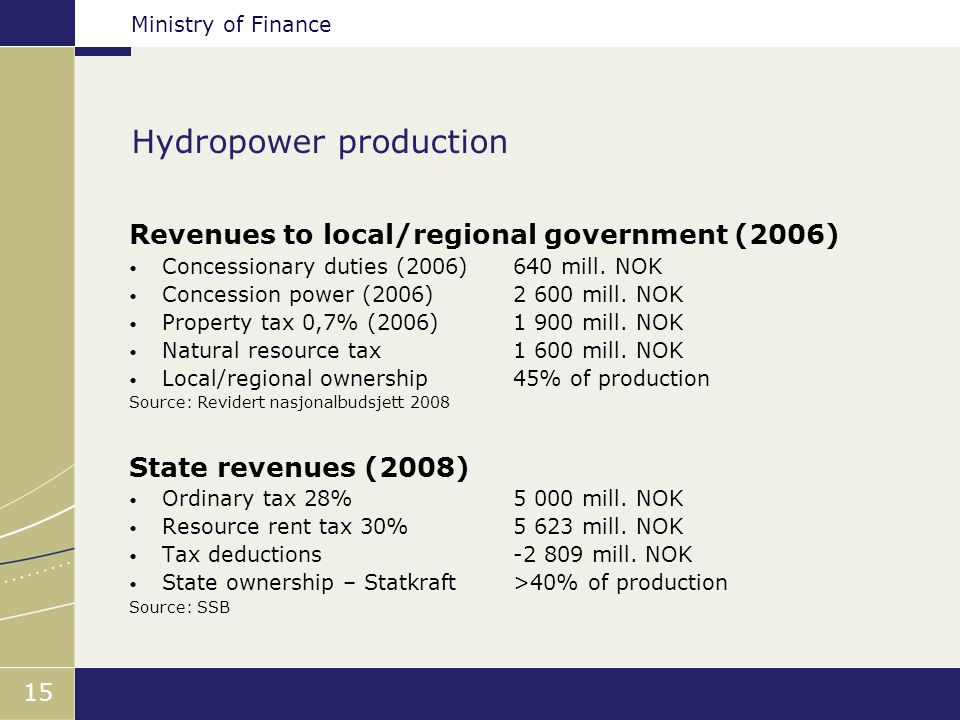 Ministry of Finance 15 Hydropower production Revenues to local/regional government (2006) Concessionary duties (2006)640 mill.