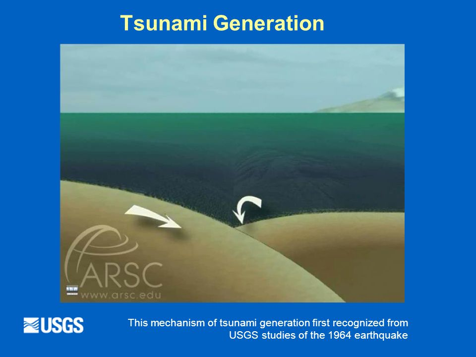 Tsunami Generation This mechanism of tsunami generation first recognized from USGS studies of the 1964 earthquake