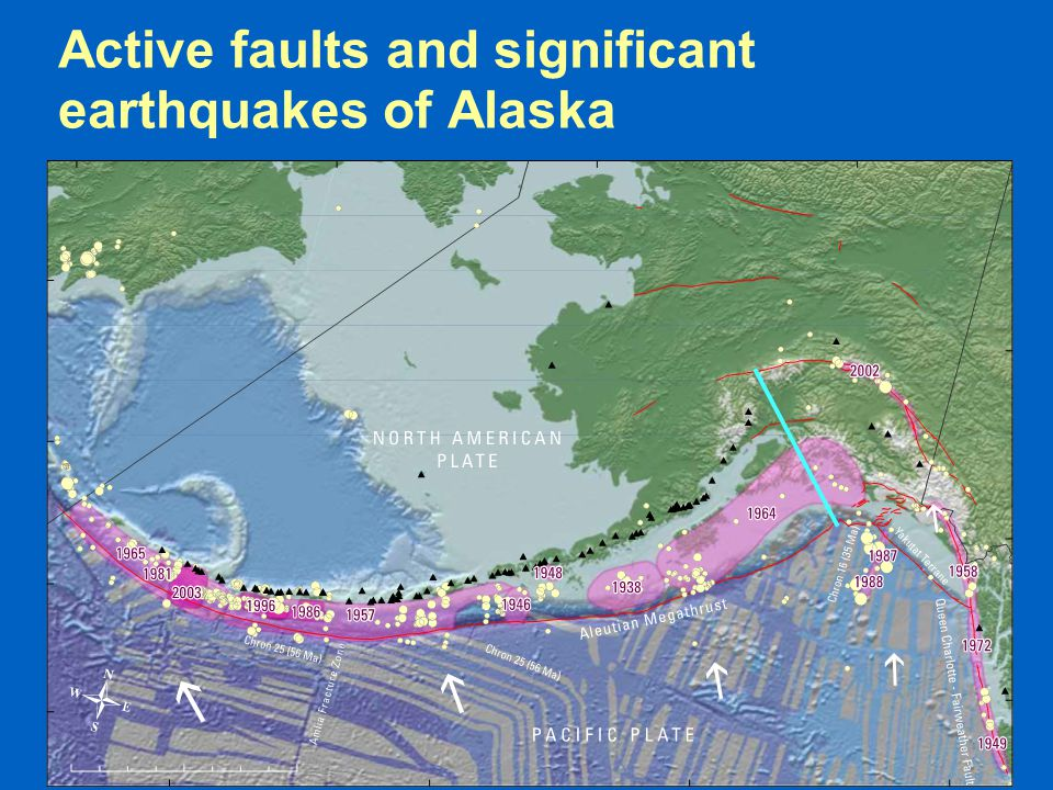  Earthquakes define the plate margins  'magmatic arcs' are related to subduction zones Active faults and significant earthquakes of Alaska