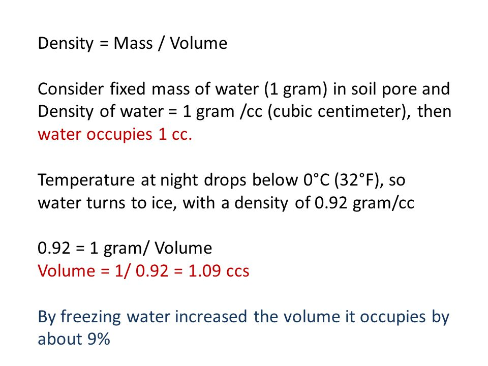 Density = Mass / Volume Consider fixed mass of water (1 gram) in soil pore and Density of water = 1 gram /cc (cubic centimeter), then water occupies 1